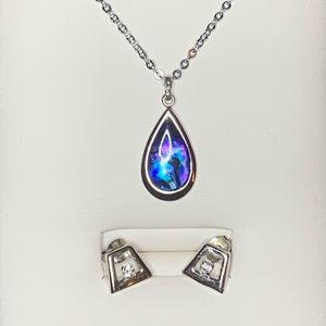 Black Opal Necklace with Earrings